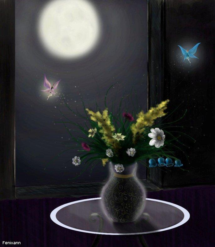 Картинка ночь луна цветы бабочки анимация, изображения