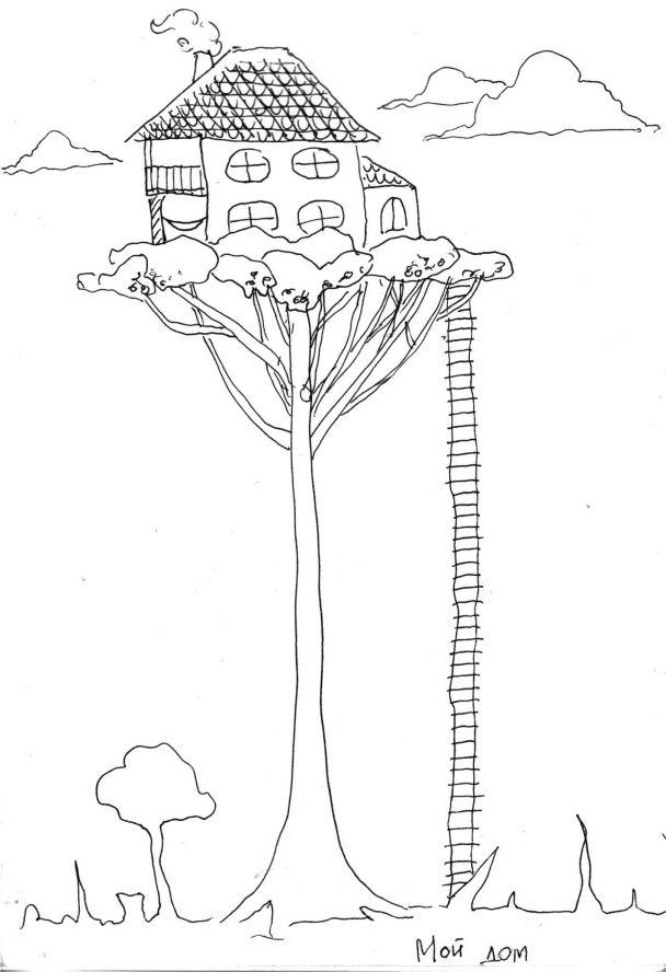 они летающий дом рисунок карандашом глаза