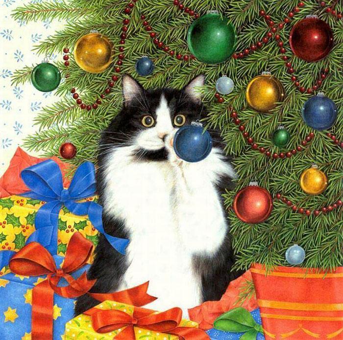 Картинки цветов, открытки с новым годом с кошками