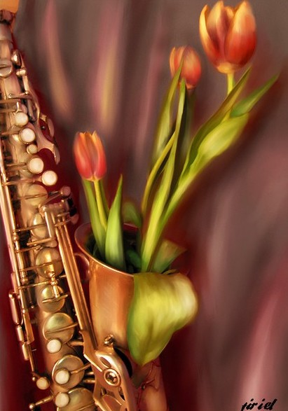 Класс открытки, саксофон открытки