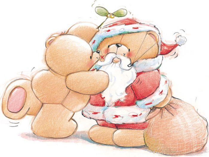 Открытки с мишками на новый год, поздравление днем